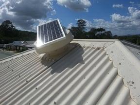 Solar Whiz unit on a tin roof